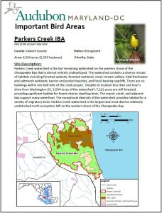Parkers Creek IBA site account